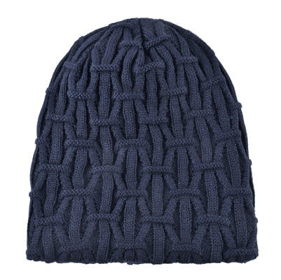 Winter Knitted Hats For Men Solid Color Beanie Bonnet Men's Outdoor Warm Skullies Beanies Knitting Wool Gorros Thicker Caps Hat