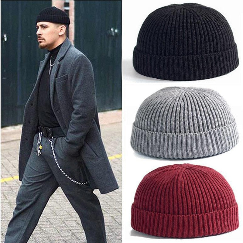 2018 Men Knitted Hat Beanie Skullcap Sailor Cap Cuff Brimless Garro  Candy Color Men's Beanie Hat FS99