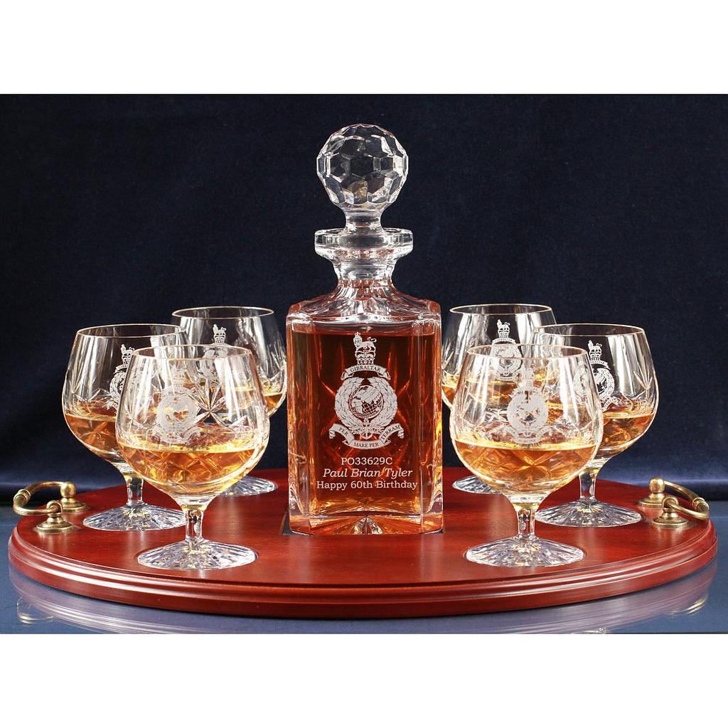 Ballantynes Crystal Panel Cut 7 Piece Brandy Serving Tray in a Satin Presentation Box