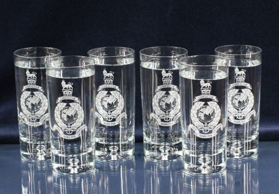 Ballantynes Crystal Set of Six Engraved Highball Tumblers