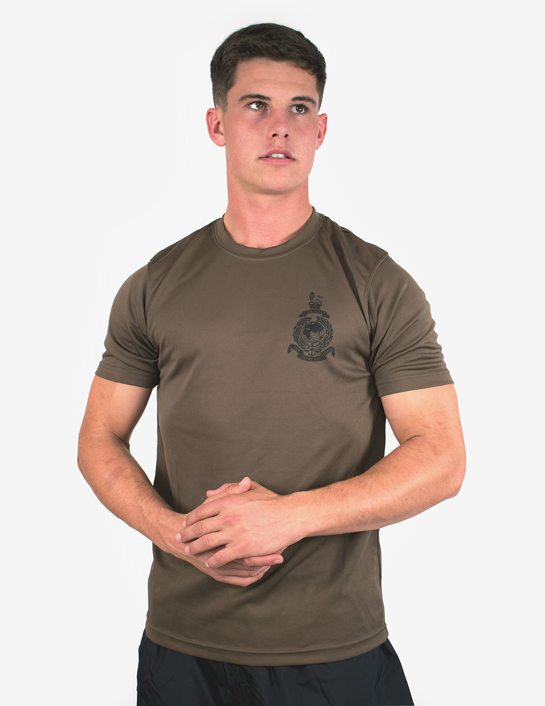 Corps Crest Running Wick T-Shirt - Brown