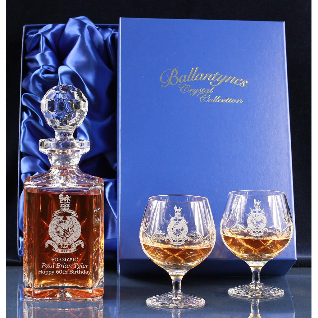 Ballantynes Crystal Brandy Decanter and Pair of Goblets