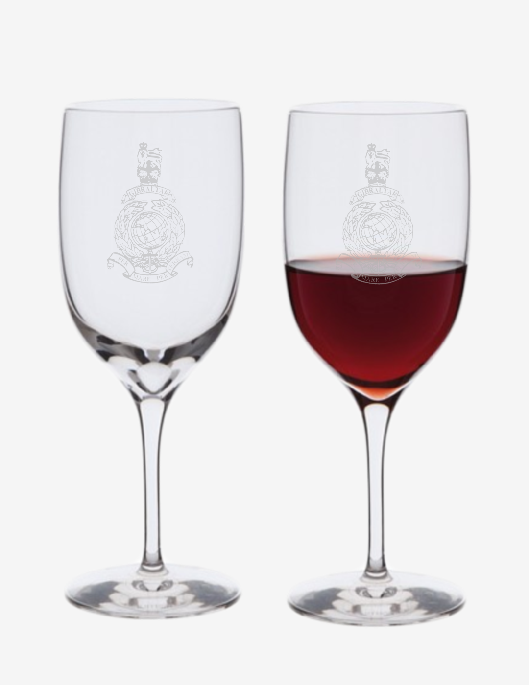 Dartington Crystal - Pair of Royal Marines Corps Crest Port Glasses