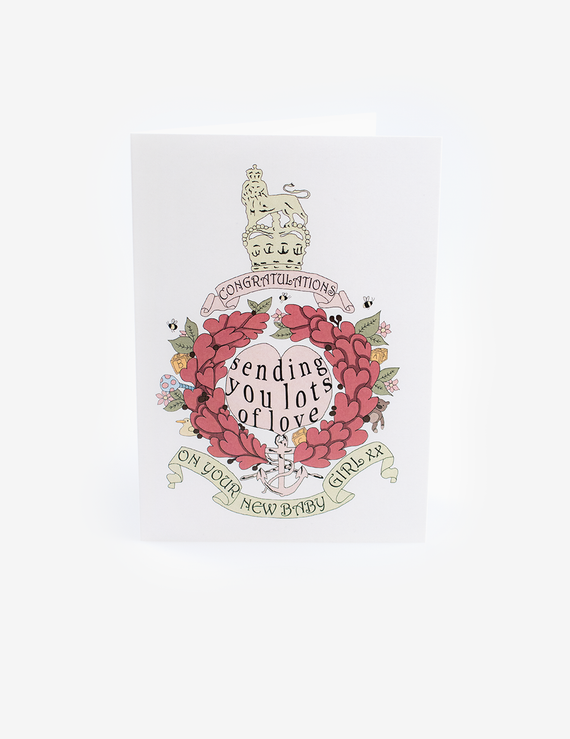 New Born Baby Girl Pink Corps Crest Card