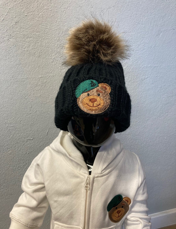 Booty Bear Bobble Hat Black