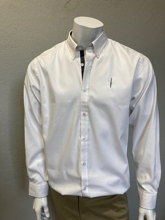 Dagger Embroidered Tailored Shirt White/Charcoal