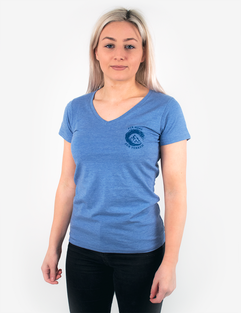 Per Mare Per Terram Ladies V Neck T-Shirt - Blue Marl