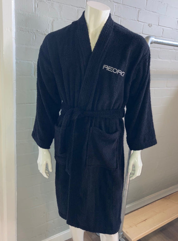 REORG Towelling Dressing Gown - Black