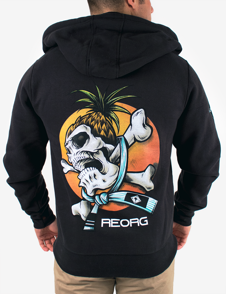 Reorg Screaming Skull Full Zip Hoodie - BLACK