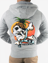 Reorg Screaming Skull Full Zip Hoodie - GREY
