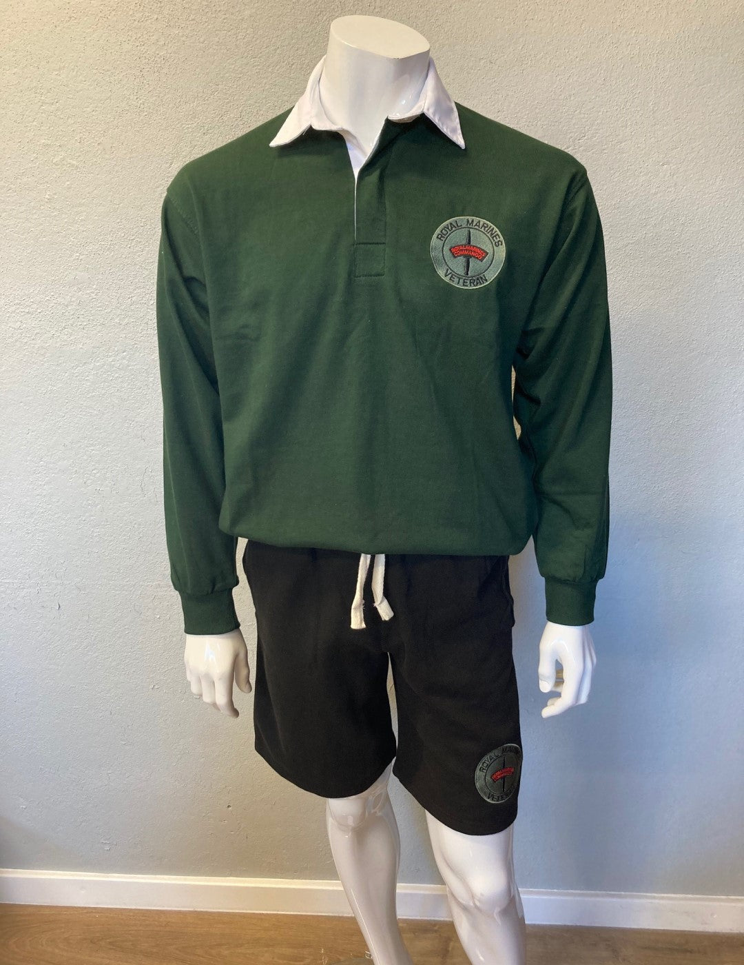 Royal Marines Veteran Heavy Cotton Rugby Shirt Bottle Green