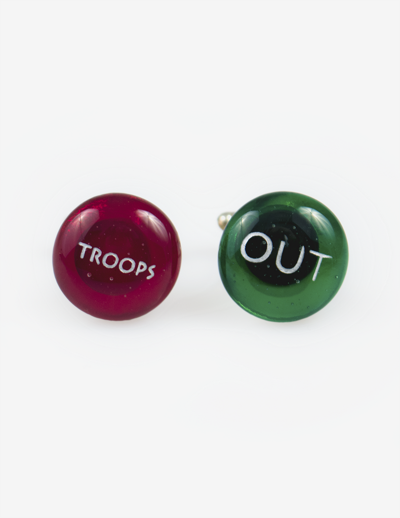 Troops Out Glass Cufflinks