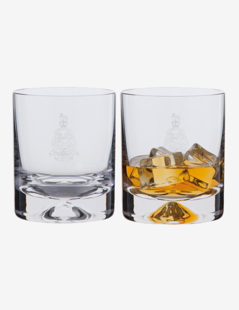 Dartington Crystal - Royal Marines Corps Crest Dimple Old Fashioned Whiskey Tumblers