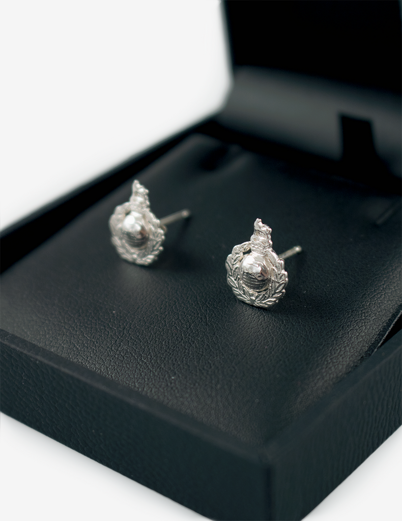 Royal Marines Silver Corps Crest Earrings