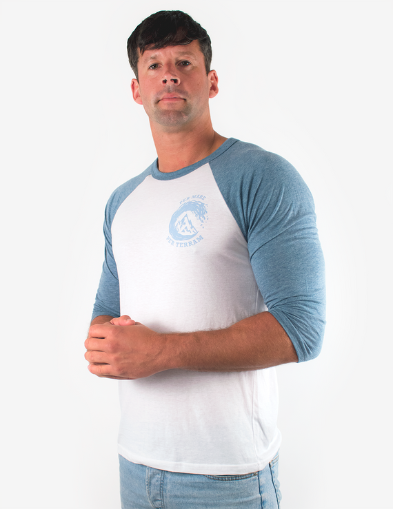 Per Mare Per Terram Mens Baseball T-Shirt - Denim Blue