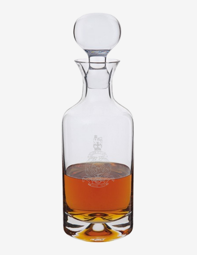 Dartington Crystal - Royal Marines Corps Crest Dimple Decanter