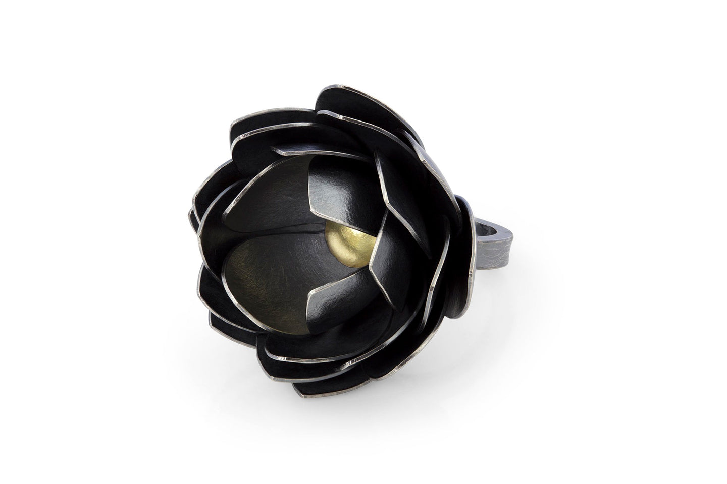 One of a kind flower ring silver and gold