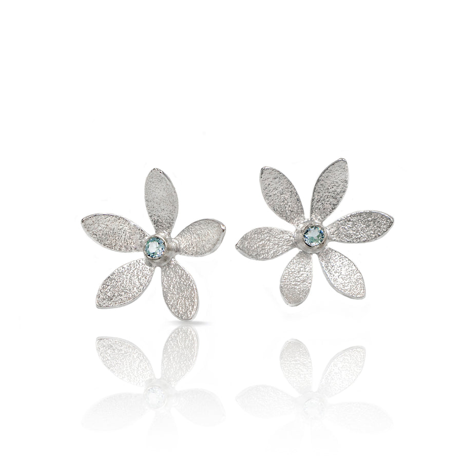 textured silver flower posts topaz