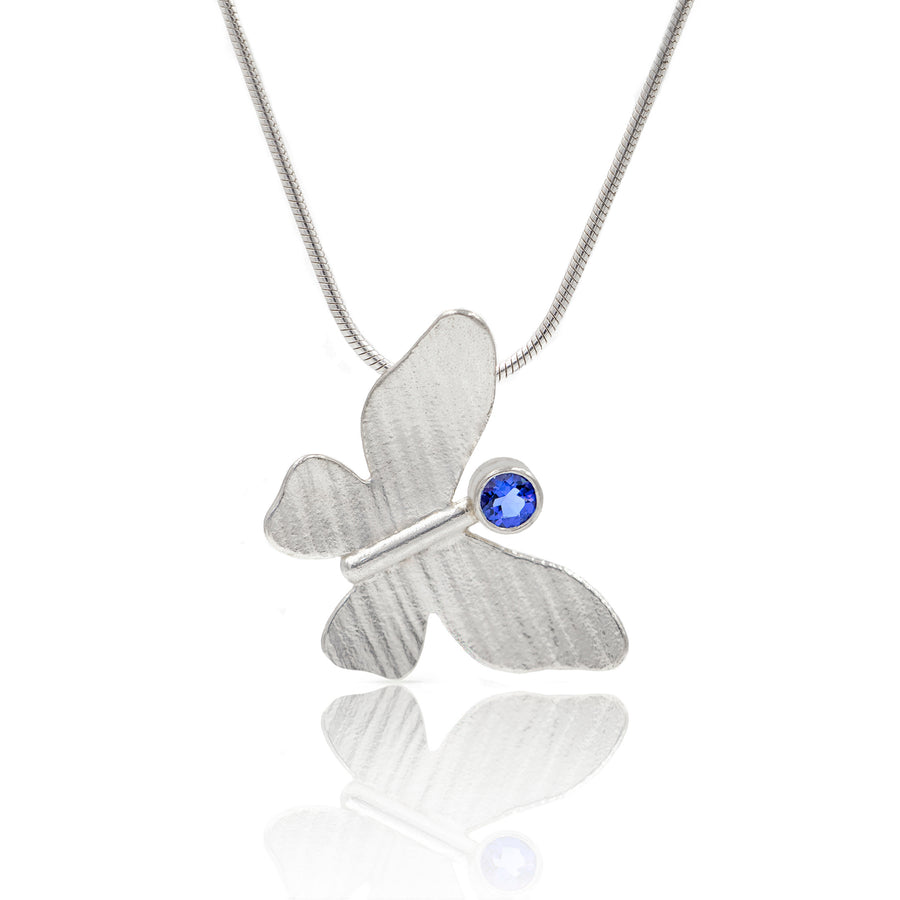 Silver Butterfly Pendant iolite