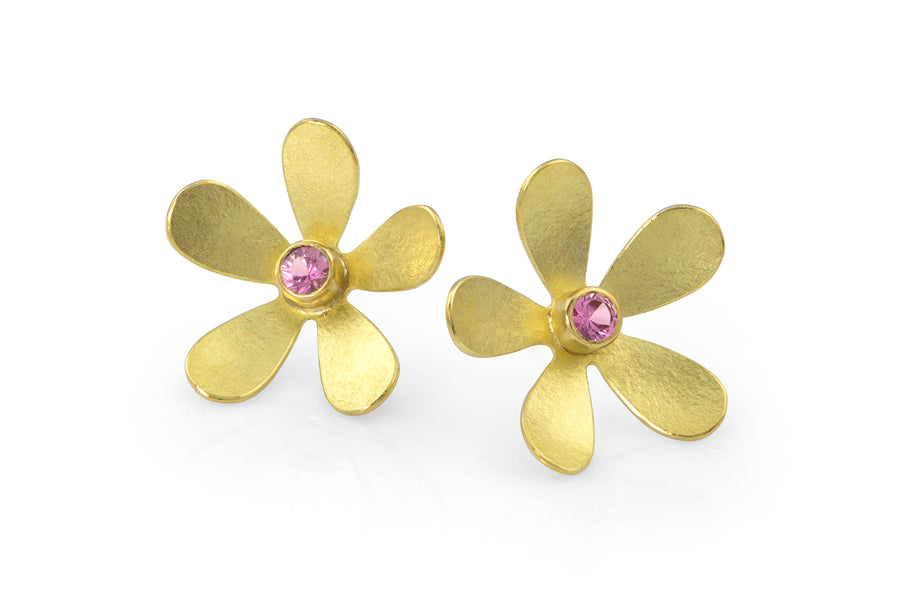 18k gold daisy flower earring pink tourmaline