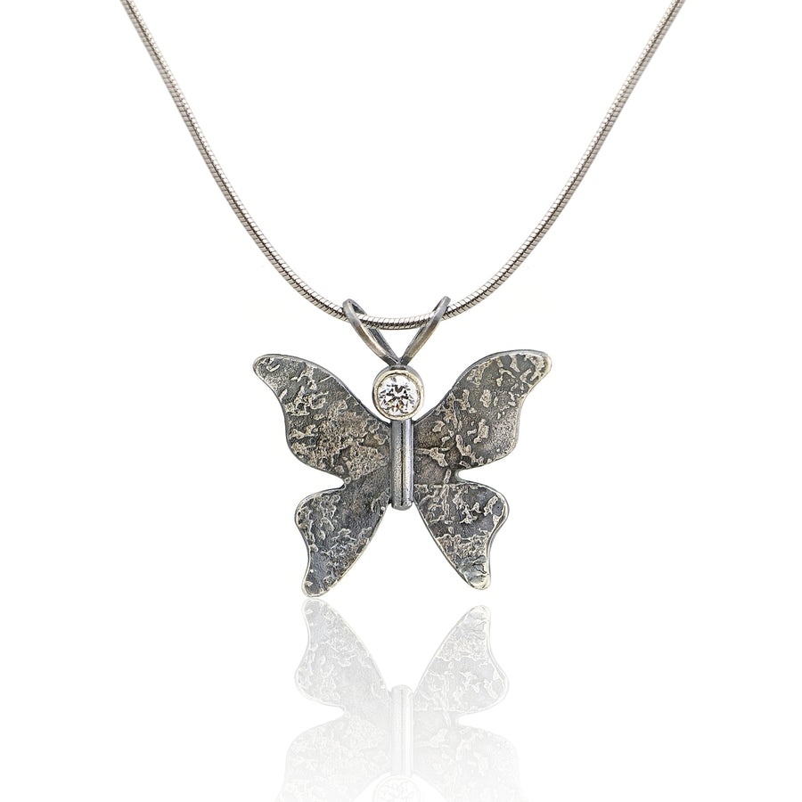Textured dark silver butterfly necklace CZ