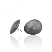 Hollow silver earring texture oxidized