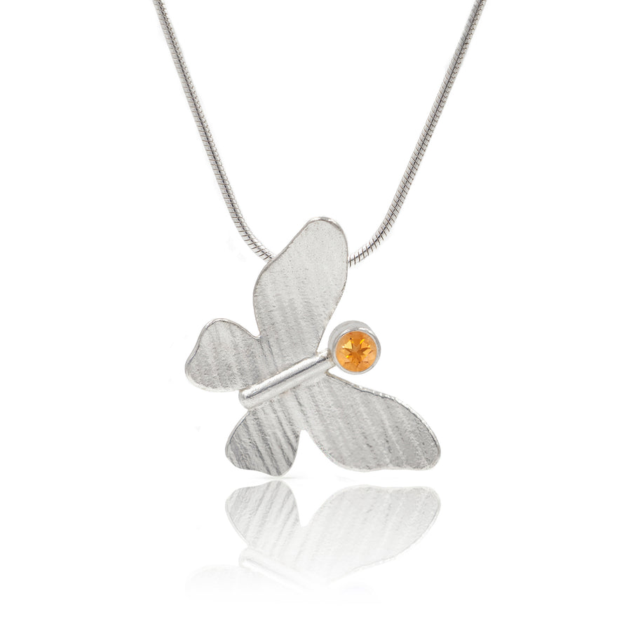 Silver Butterfly Pendant on chain with citrine