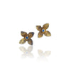 Sapphire flower earring gold and silver