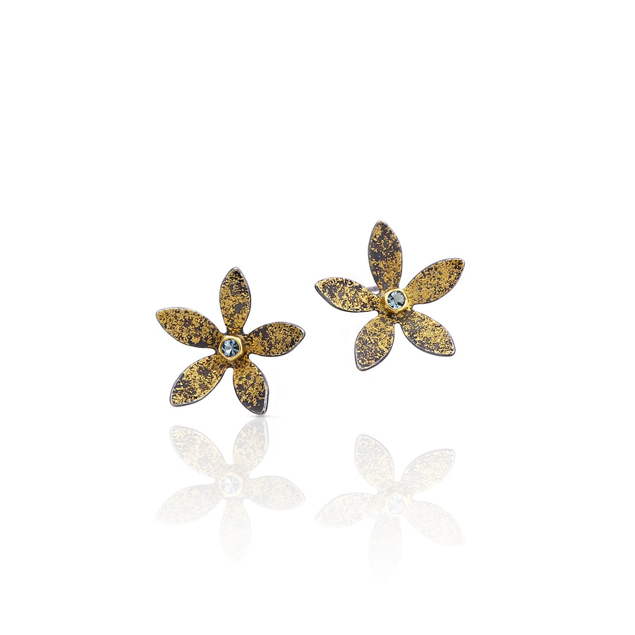 Aquamarine flower earring gold and silver