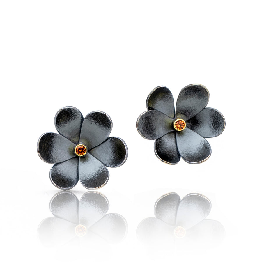 silver and gold flower earring oxidized