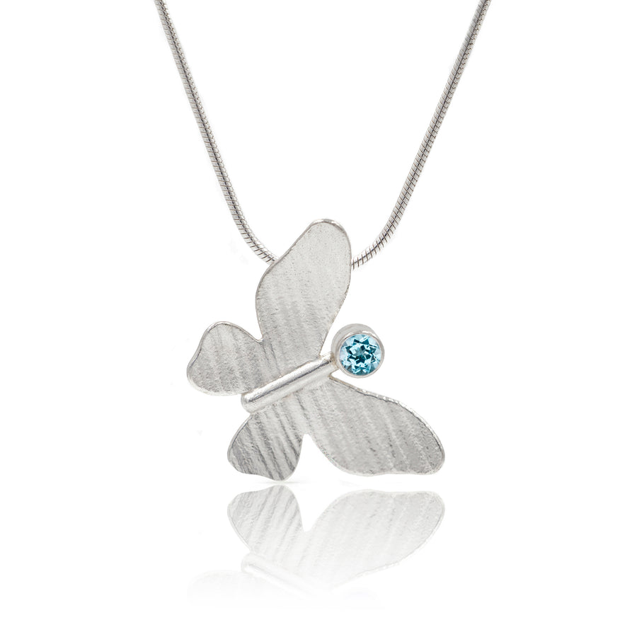 Silver Butterfly Pendant on chain with blue topz