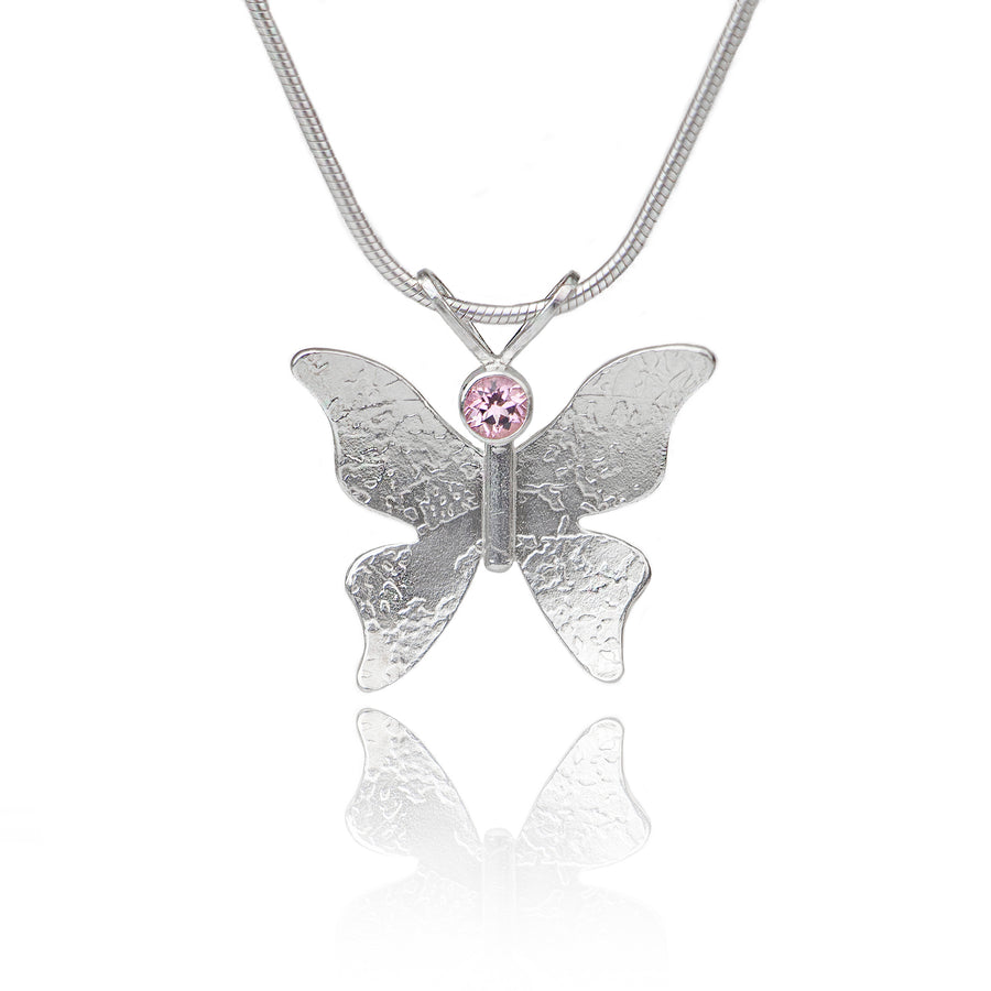 Textured silver butterfly necklace pink topaz
