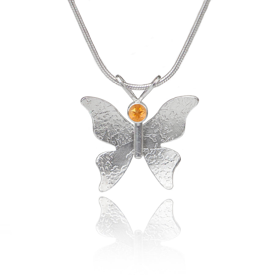Textured silver butterfly necklace citrine