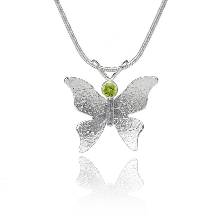 Textured silver butterfly necklace peridot