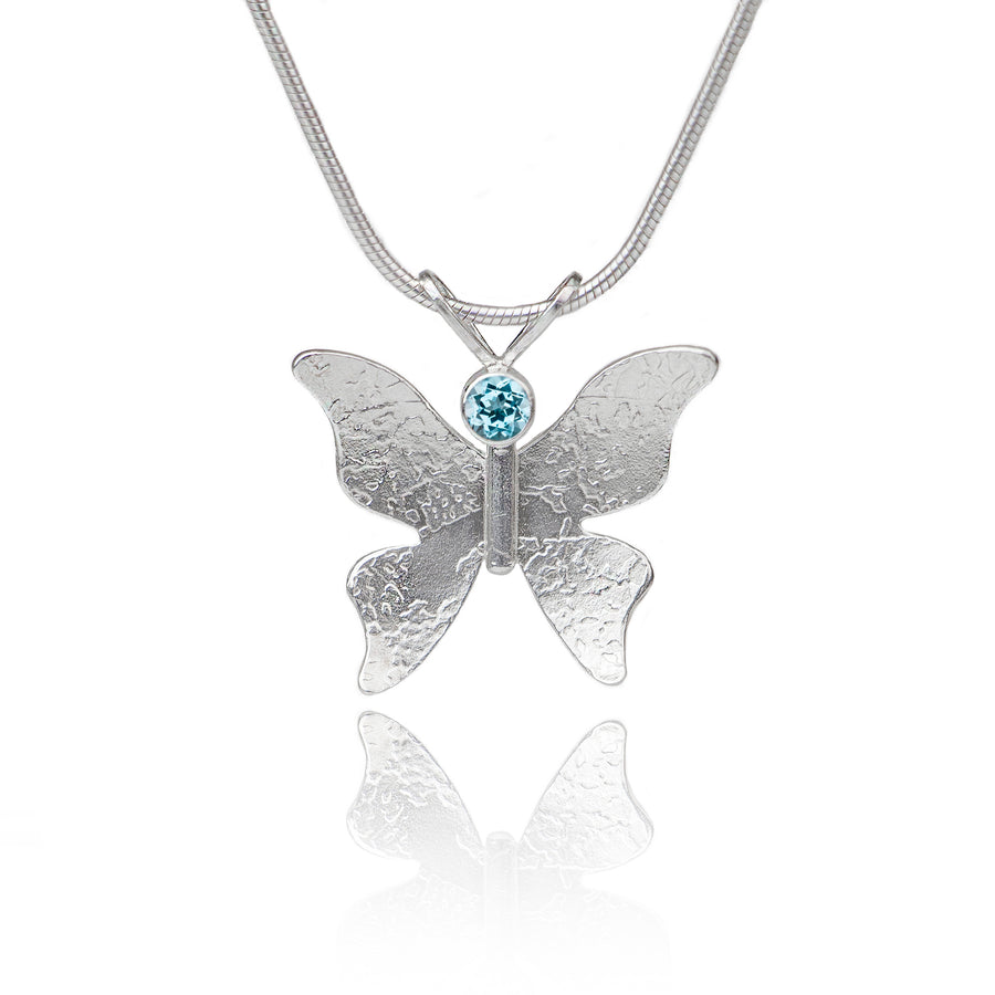 Textured silver butterfly necklace blue topaz
