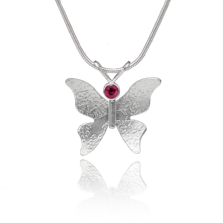 Textured silver butterfly necklace garnet