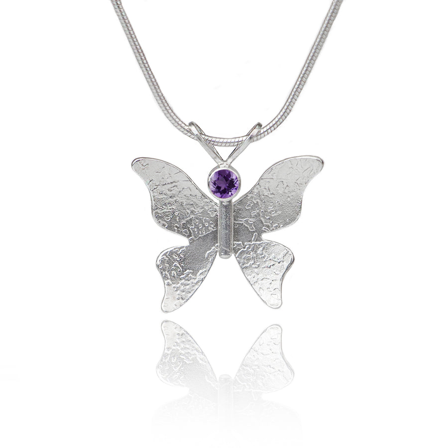 Textured silver butterfly necklace amethyst