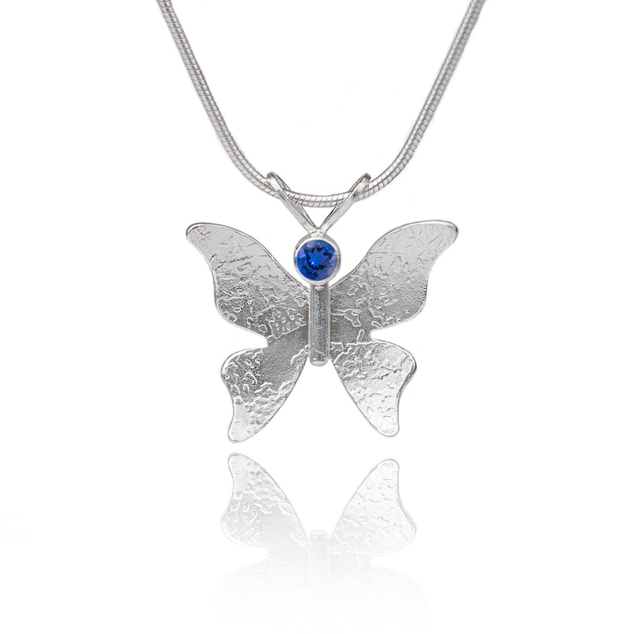 Textured silver butterfly necklace iolite