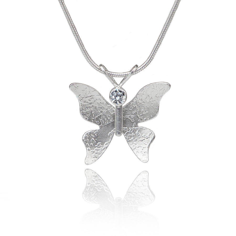 Textured silver butterfly necklace CZ