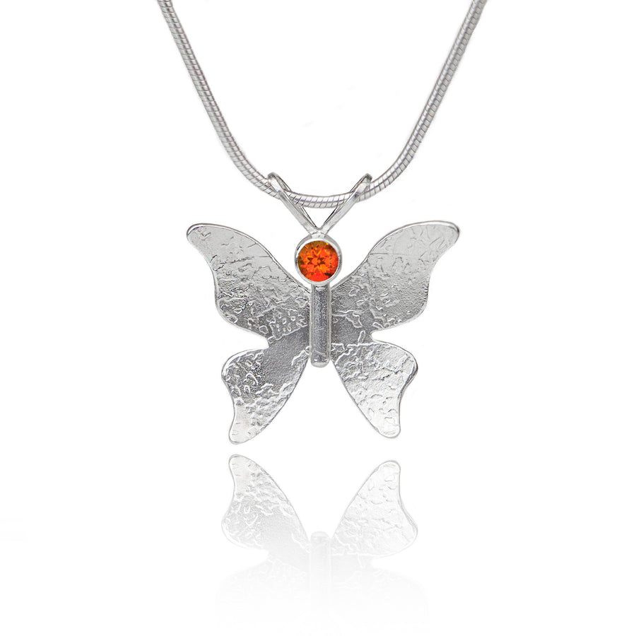Textured silver butterfly necklace