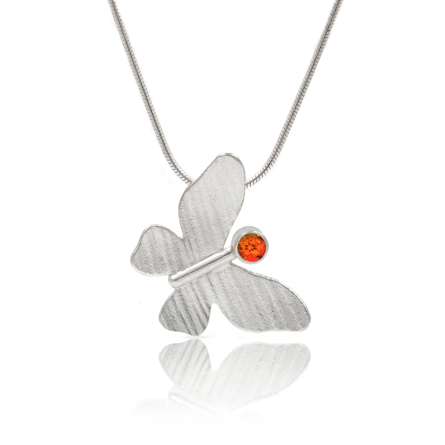 Silver Butterfly Pendant orange topaz