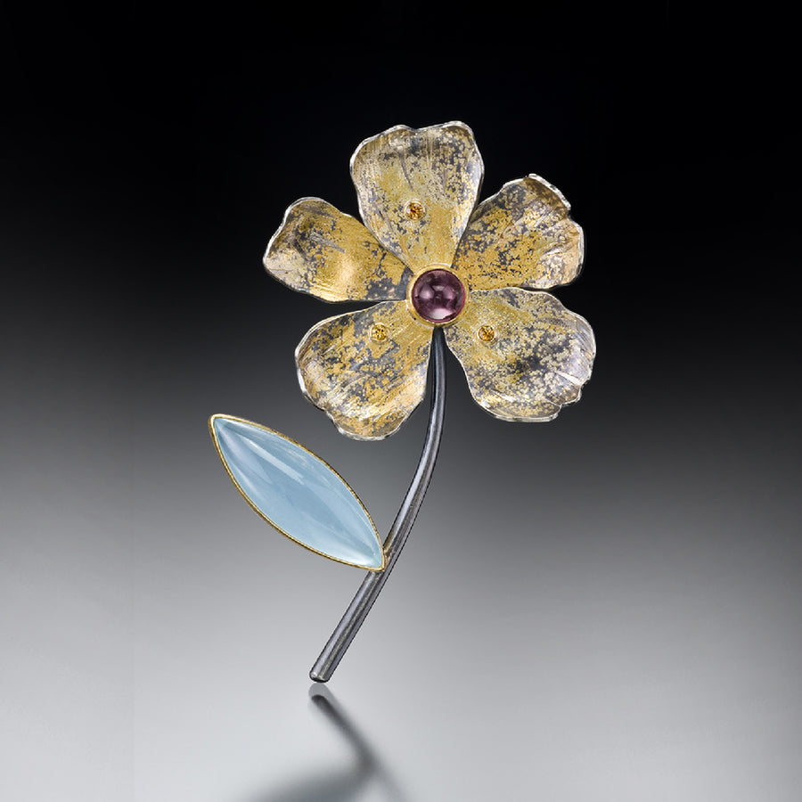 Aquamarine marquise leaf flower pin