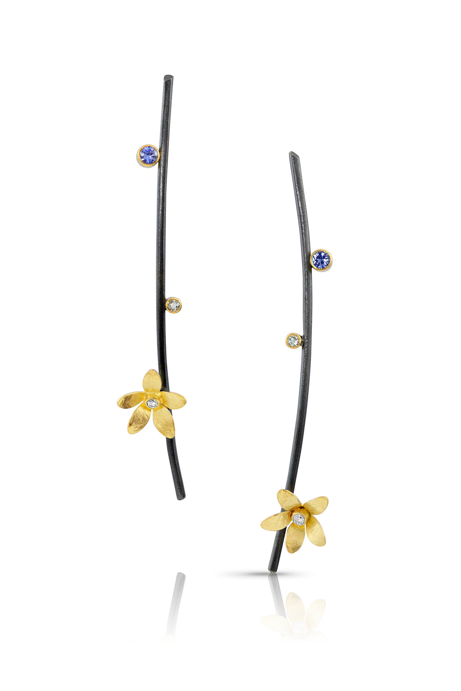 Unique silver and gold flower earrings
