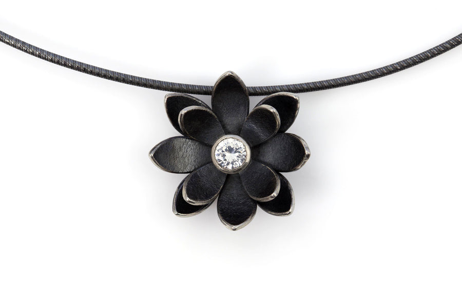 Yoga jewelry lotus pendant dark silver