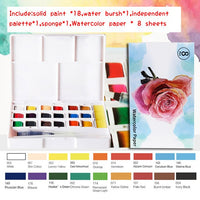 12/18/24/36/40 Colors Solid Pigment Watercolor Paints With Water Color Brush and Pen -Portable Travel Set For Painting Art Supplies