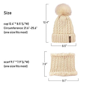 LCZTN Womens Pom Beanie Hat Scarf Set Girls Cute Winter Ski Hat Slouchy Knit Skull Cap with Fleece Lined