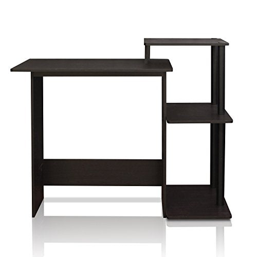 Efficient Home Laptop Notebook Computer Desk, Square Side Shelves, Espresso/Black