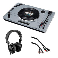 Reloop Spin Portable Turntable System with Scratch Vinyl with Polsen HPC-A30 Studio Headphones & Male Audio Cable (6') Bundle