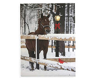 Winter Scene LED Lighted Canvas Wall Print with Horse & Cardinal in Snow