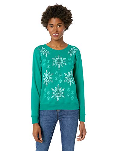 Hanes Women's Ugly Christmas Sweatshirt, Emerald Night, X Large